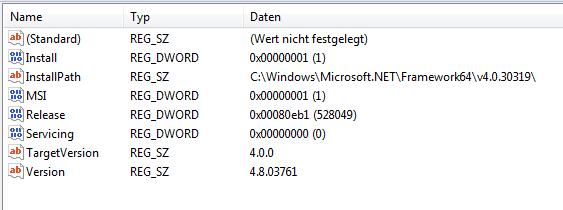 Das Bild zeigt einen Ausschnitt der Registrierung für das .NET Framework