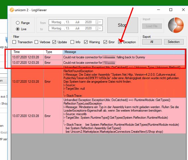 Das Bild zeigt eine Fehlermeldung im Logviewer von unicorn 2, wenn das .NET Framework nicht mindestens auf dem Stand 4.7.2 ist.