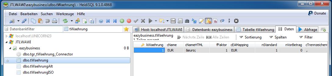 Das Bild zeigt die Tabelle tWaehrung unter Zuhilfenahme des in unicorn 2 integrierten Programms HeidiSQL.