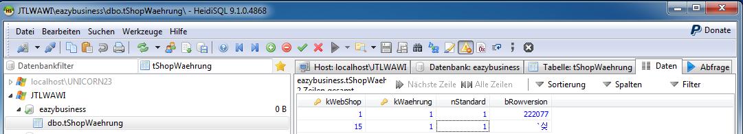 Das Bild zeigt die Herstellung einer Relation in der Tabelle tShopWaehrung unter Zuhilfenahme des in unicorn 2 integrierten Programms HeidiSQL.