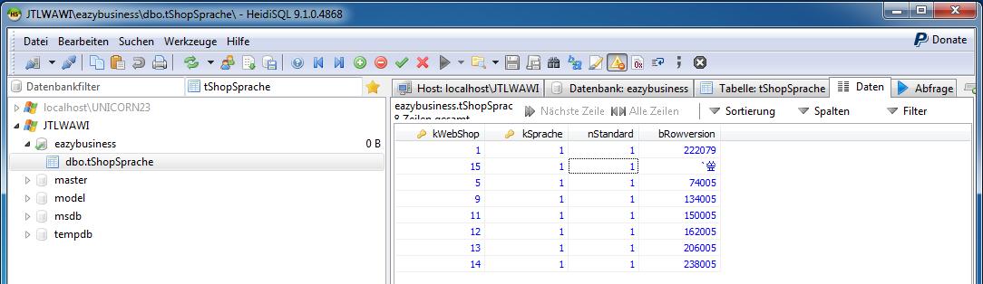 Das Bild zeigt die Herstellung einer Relation in der Tabelle tShopSprache unter Zuhilfenahme des in unicorn 2 integrierten Programms HeidiSQL.