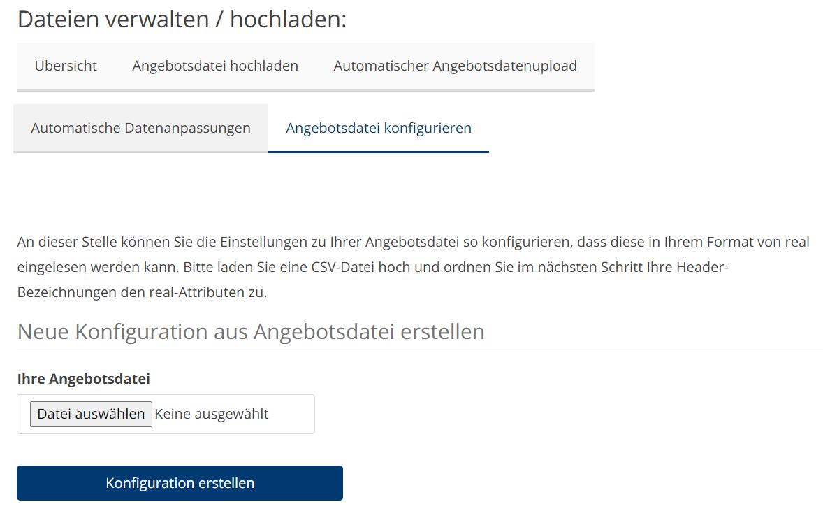 Das Bild zeigt, wo man im Händler Backends von real.de die passende Feed-Datei auswählt und zum Marktplatz überträgt.