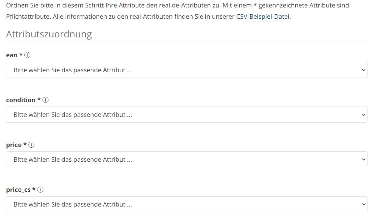 Das Bild zeigt, wo man im Händler Backends von real.de die Attribute zur Konfiguration der eigenen Feed-Datei anpasst.
