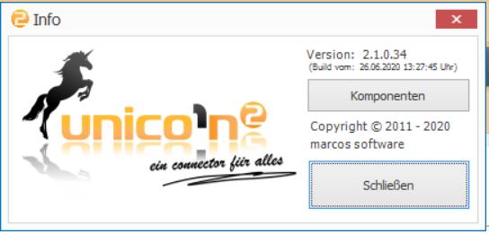 Das Bild zeigt das eingeblendete Informations-Fenster zur Version von unicorn 2.