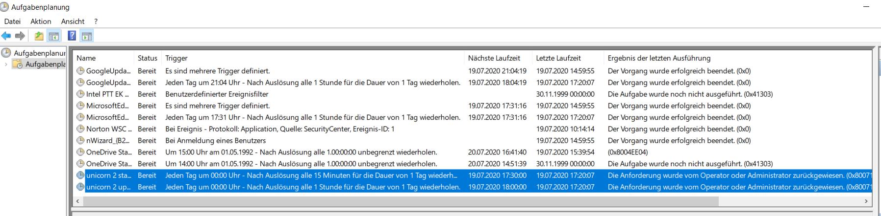 Das Bild zeigt die Windows Aufgabenverwaltung sowie die hinterlegten Aufgaben für unicorn 2.