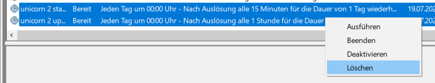 Das Bild zeigt die Windows Aufgabenverwaltung sowie die Löschung der hinterlegten Aufgaben für unicorn 2.