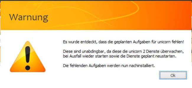 Das Bild zeigt den Hinweis von unicorn 2, dass die geplanten Aufgaben für Windows fehlen.