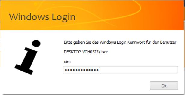 Das Bild zeigt in unicorn 2 die Maske zur Eingabe des Windows-Kennwort.