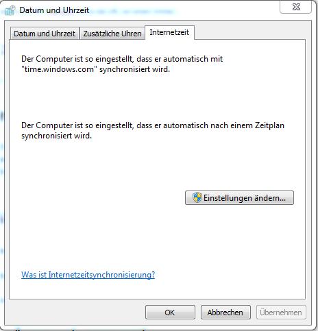 Das Bild zeigt die automatische Synchronisation-Einstellungen der Zeit in Windows.