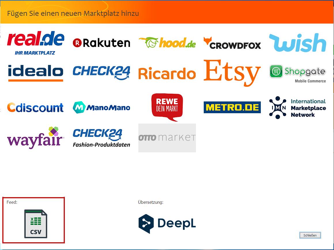 """Das Bild zeigt die Marktplatzauswahl in der unicorn 2 Oberfläche sowie die Auswahl """"Feed: CSV""""."""