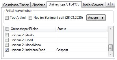 Das Bild zeigt in der JTL-Wawi den aktivierten Webshophaken für den IndividualFeed.