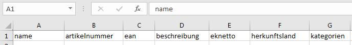 Das Bild zeigt die Kopfzeile der CSV-Datei im IndividualFeed.