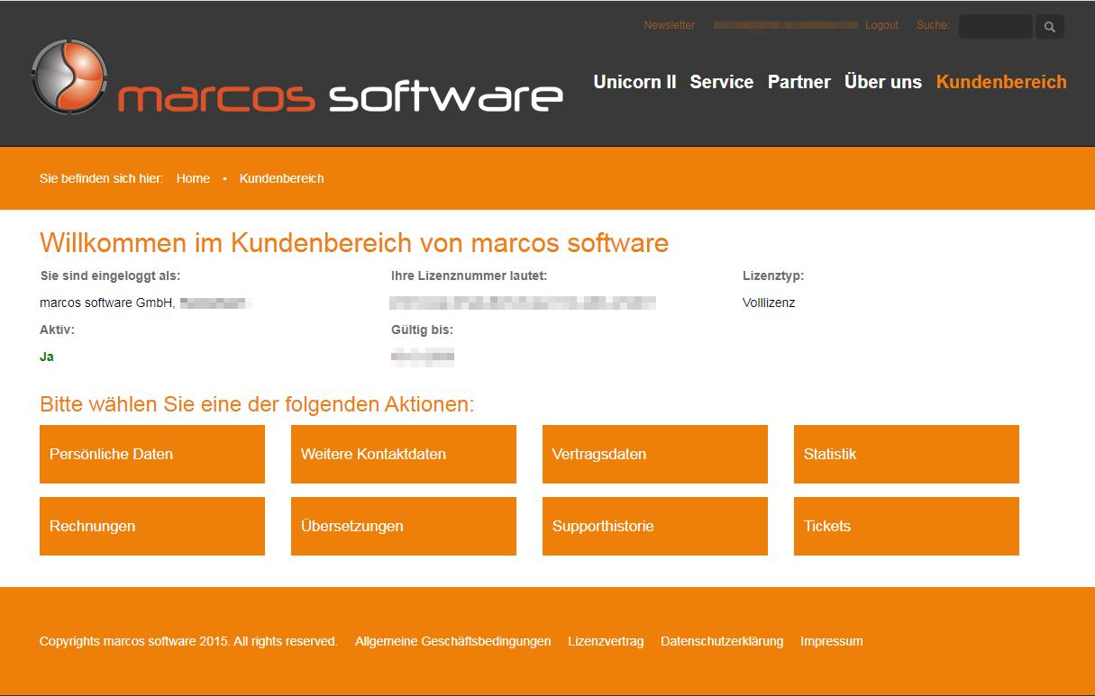 Das Bild zeigt den Kundenbereich auf der Website von marcos software.