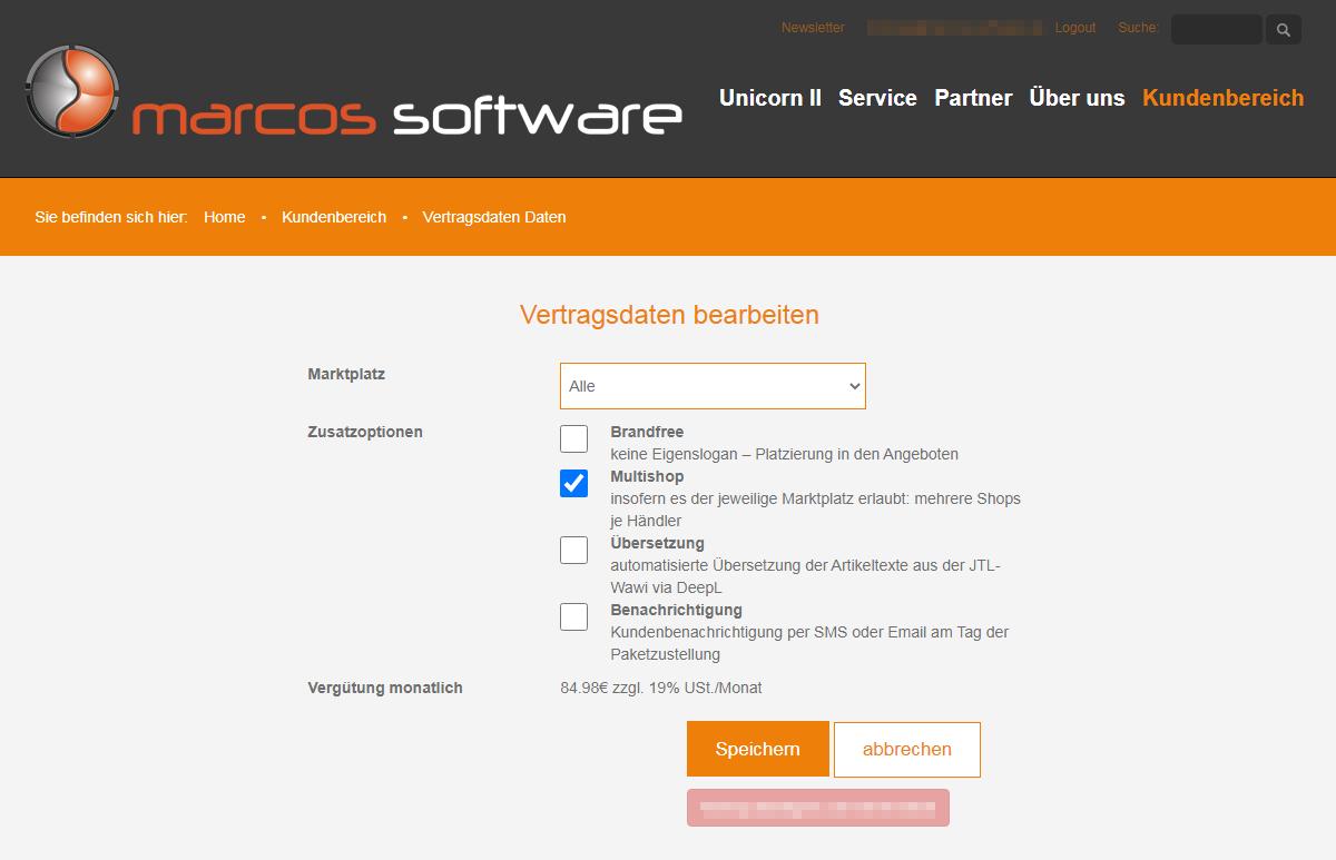 Das Bild zeigt die Vertragsdaten inklusive Optionen im Kundenbereich der Website von marcos software.