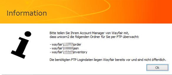 Das Bild zeigt die Ordner, die unicorn 2 via FTP auf den Wayfair Servern überwacht.