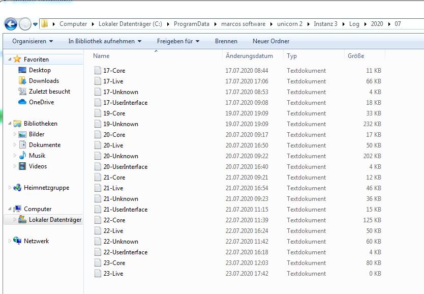 Das Bild zeigt den Dateipfad und den Inhalt des Ordners mit den LogDateien von unicorn 2.