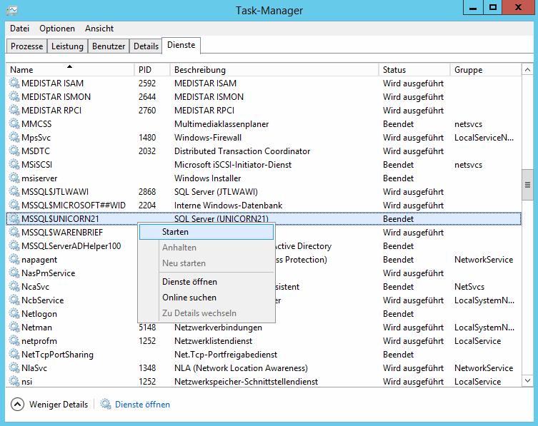 Das Bild zeigt, wie man den Dienst für eine MSSQL Instanz im Windows Task-Manager startet.