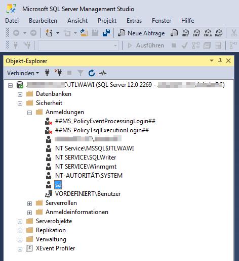Das Bild zeigt, wie man zu den den Einstellungen des Benutzers sa im Microsoft SQL Management Studio navigiert.