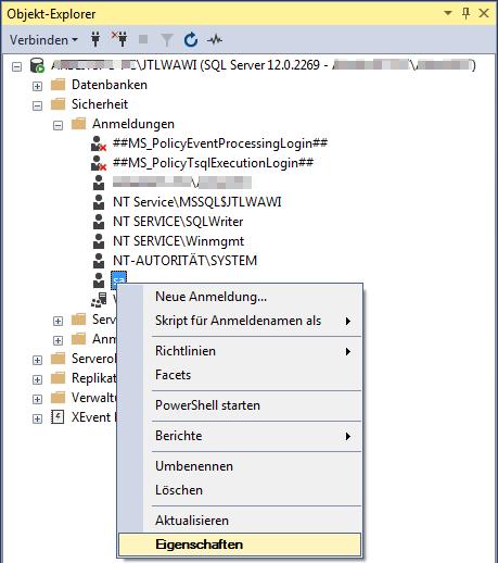 Das Bild zeigt, wie die Eigenschaften für den Benutzer sa im Microsoft SQL Management Studio aufgerufen werden.