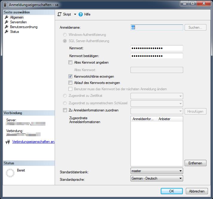 Das Bild zeigt, wie man das Kennwort des Benutzers sa im Microsoft SQL Management Studio ändert.
