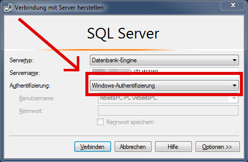 Das Bild zeigt das Anmeldefenster des Microsoft SQL Management Studio.