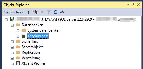 Das Bild zeigt die eazybusiness Datenbank im Microsoft SQL Management Studio.