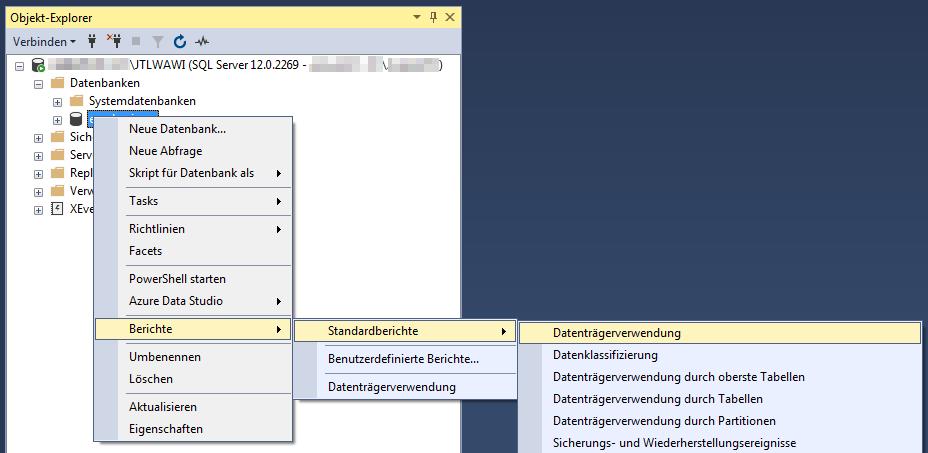 Das Bild zeigt die Navigation innerhalb des Microsoft SQL Management Studio zum Berichten über die Datenträgerverwendung einer Datenbank.