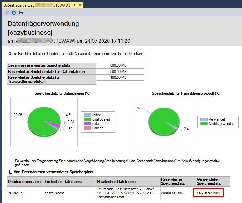 Das Bild zeigt die Datenträgerverwendung einer Datenbank im  Microsoft SQL Management Studio.