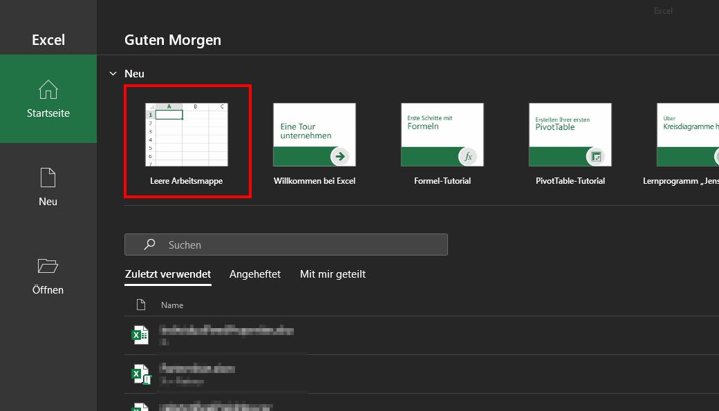 Das Bild zeigt die Startübersicht von Microsoft Excel.