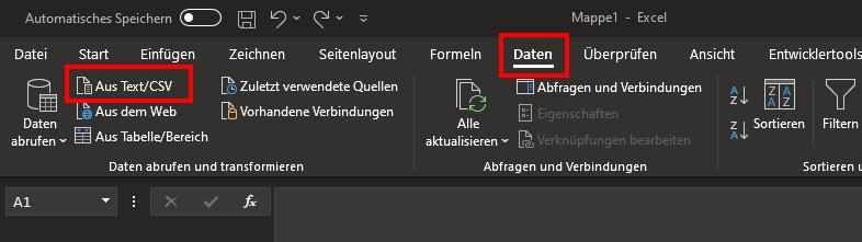 """Das Bild zeigt die obere Leiste von Microsoft Excel sowie den Tab """"Daten""""."""
