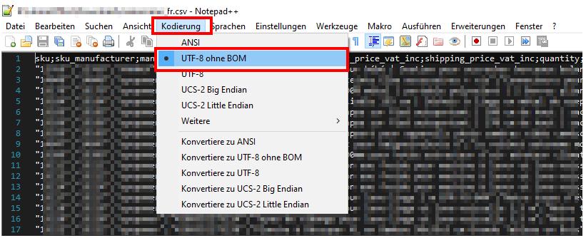"""Das Bild zeigt die obere Leiste von Notepad++ sowie den Tab """"Kodierung""""."""