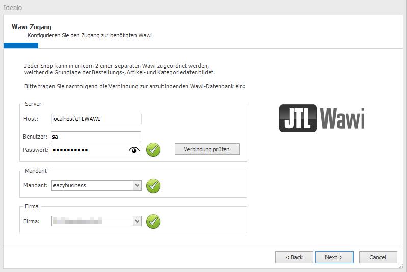 Das Bild zeigt die Konfiguration des JTL-Wawi Zugangs bei der Anbindung eines neuen Shop.