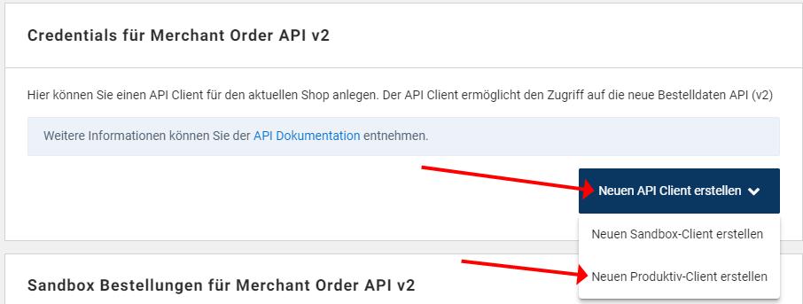 Das Bild zeigt, wie im idealo Händlerbereich ein neuer Client für die Merchant Order API v2 angelegt wird.