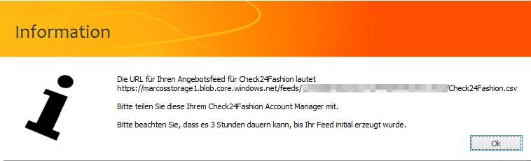 Das Bild zeigt, die URL des Produktdatenfeed für CHECK24 Fashion.