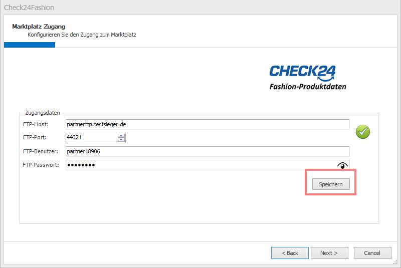 Das Bild zeigt, wie in unicorn 2 beim Anlegen eines neuen CHECK24 Fashion Shop die Zugangsdaten hinterlegt werden.