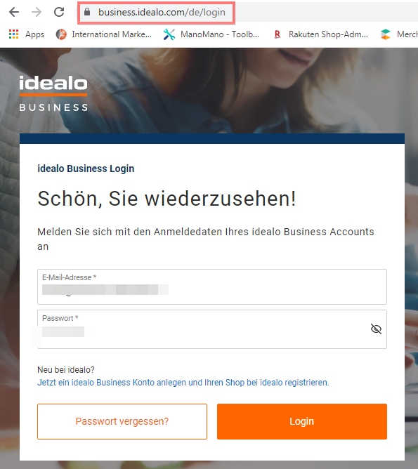 Das Bild zeigt das Login sowie die URL des Händler Backend von idealo.