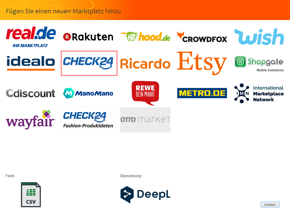 """Das Bild zeigt die Marktplatzauswahl in der unicorn 2 Oberfläche sowie die Auswahl """"idealo""""."""