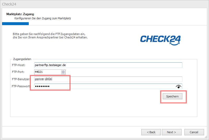 Das Bild zeigt, wie in unicorn 2 beim Anlegen eines neuen CHECK24 Shop die Zugangsdaten hinterlegt werden.