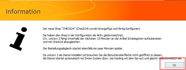 Das Bild zeigt den abschließenden Hinweis, bis zur Anbindung des nächsten Shop eine Woche vergehen zu lassen.