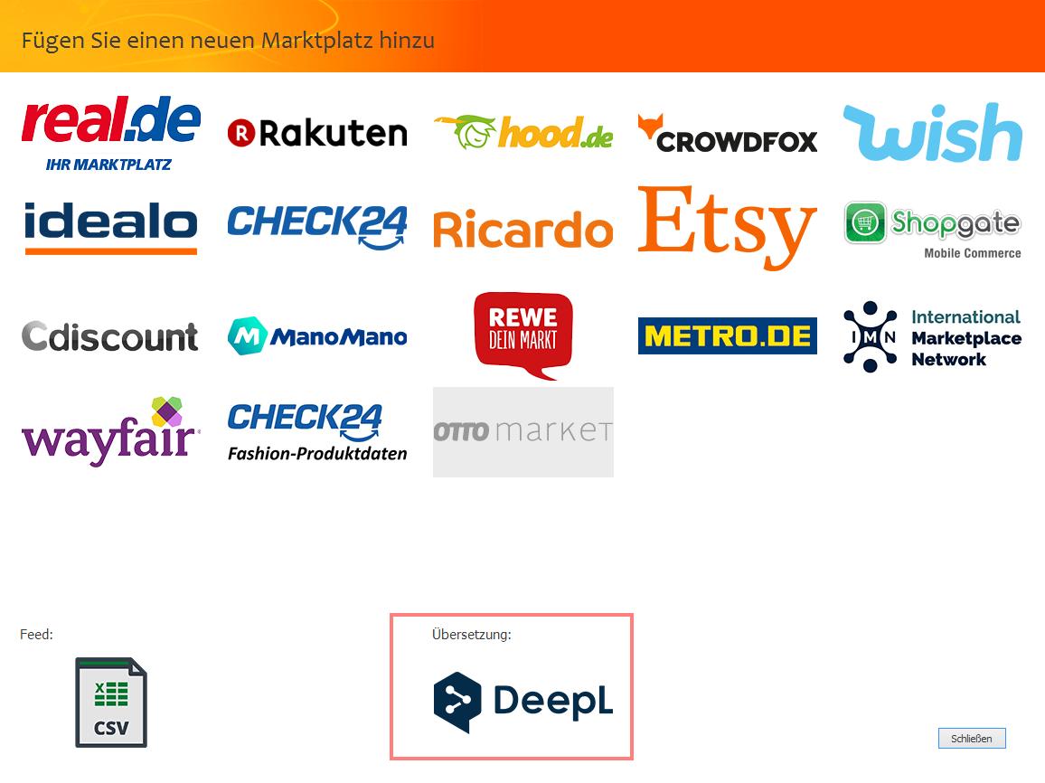 """Das Bild zeigt die Marktplatzauswahl in der unicorn 2 Oberfläche sowie die Auswahl """"DeepL""""."""