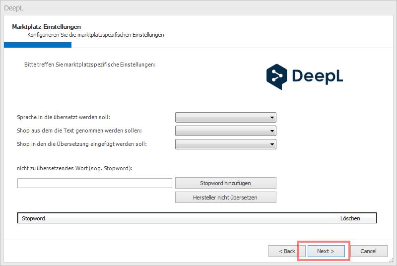 Das Bild zeigt, in unicorn 2 einen zu überspringenden Schritt bei der Anbindung von DeepL.