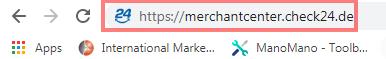 Das Bild zeigt die URL des Händler Backends von Check24.