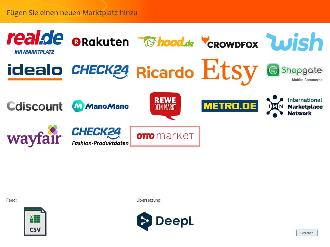 """Das Bild zeigt die Marktplatzauswahl in der unicorn 2 Oberfläche sowie die Auswahl """"OTTO market""""."""