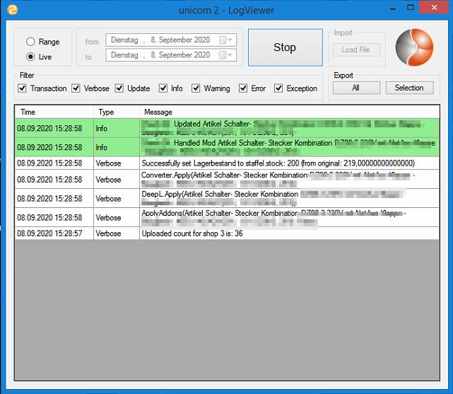 Das Bild zeigt den aktiven LogViewer unicorn 2.
