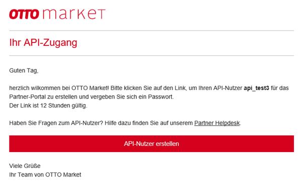 Das Bild zeigt die E-Mail von OTTO market für den API-Zugang.