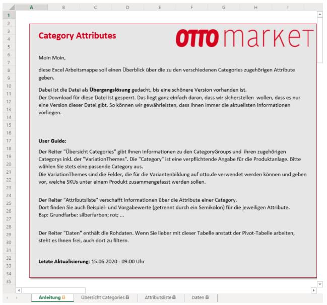 Das Bild zeigt die Übersicht der Kategorie-Attributen auf OTTO market.