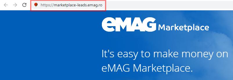 Das Bild zeigt die URL des  Login des Händlerbereich auf eMAG.