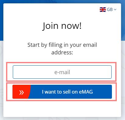 Das Bild zeigt die Anmeldemaske für Händler auf eMAG.