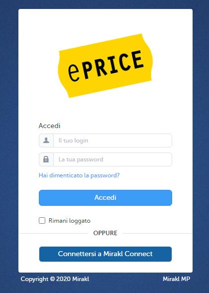 Das Bild zeigt die URL des  Login des Händlerbereich auf ePRICE.