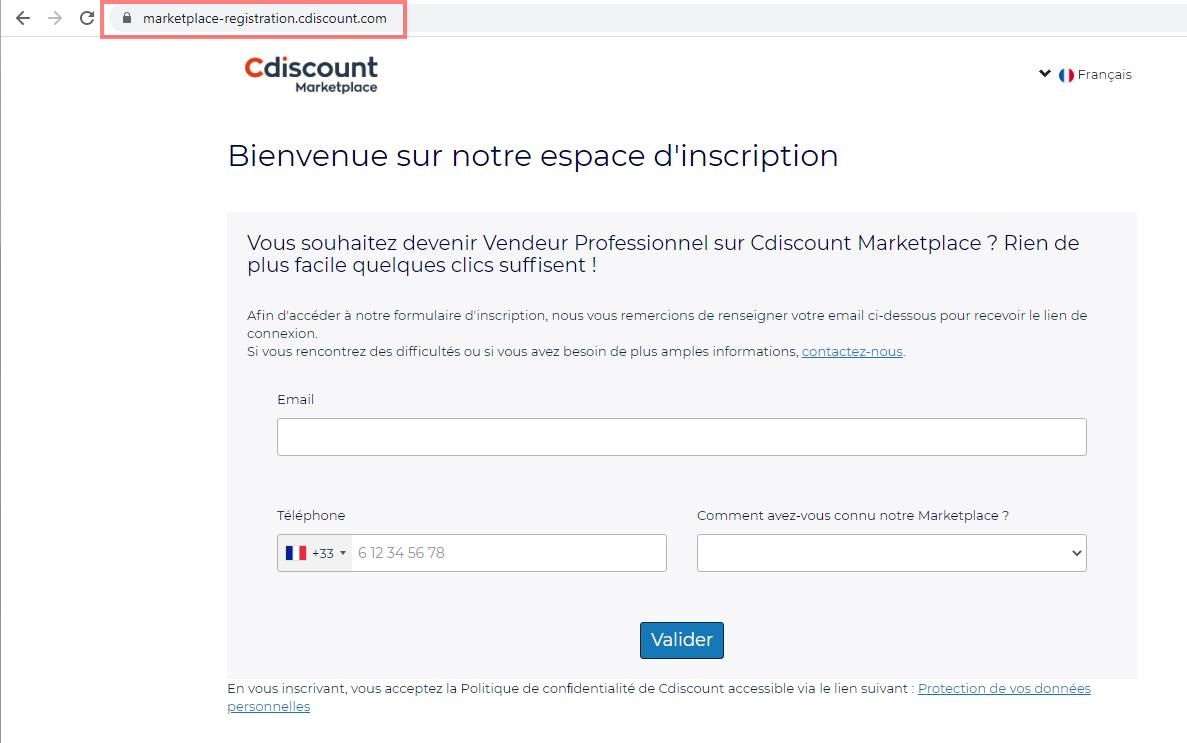 Das Bild zeigt die URL das Registrierungsformular auf Cdiscount.